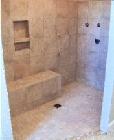 Shower with bench, niche and border